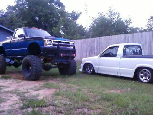 From Steven Carter: My brothers s10 on K5 frame and my 86 Mazda.