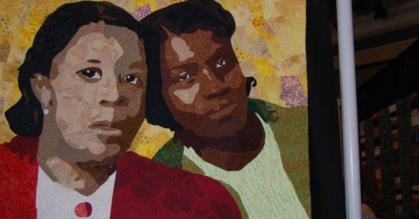 Sisters- a portrait quilt by Marilyn Handis African American Quilt Guild of Oakland: Sankofa 2011 April via Alliance for California Traditional Arts