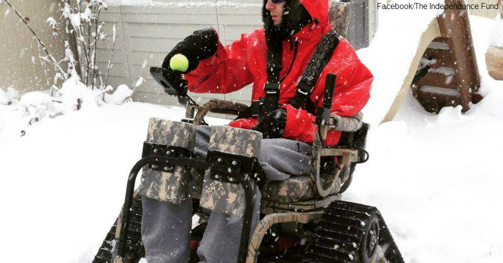 Veteran wheelchair snowplow