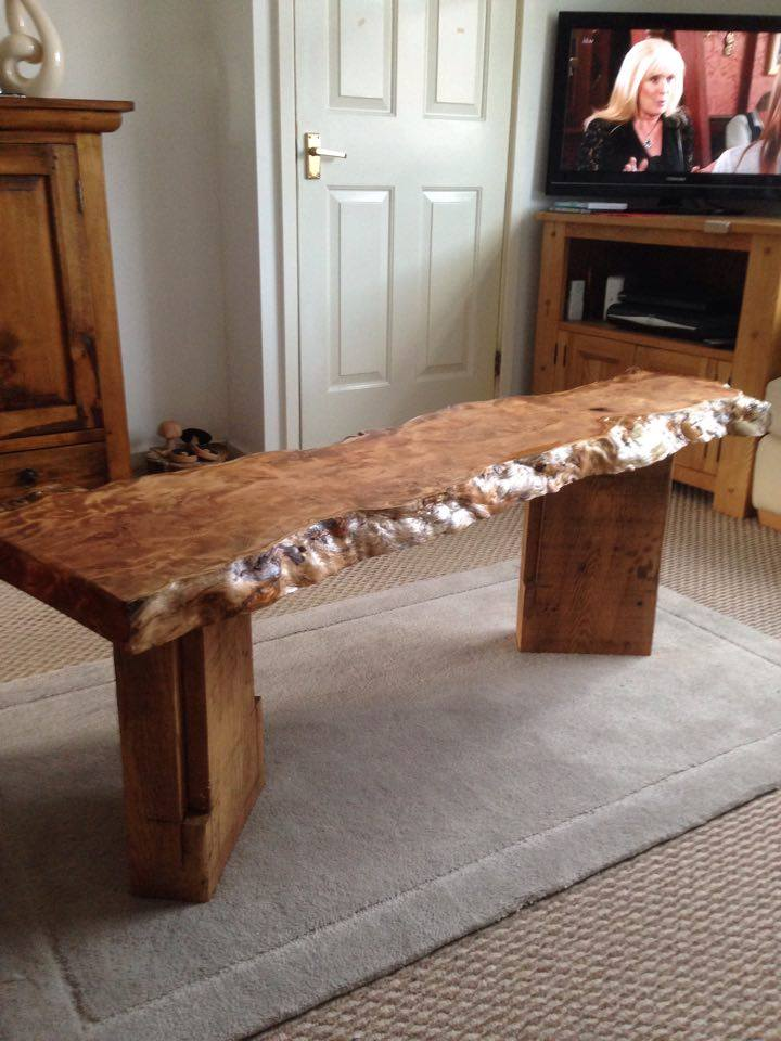From Ian Thomas: Yew slab table with oak legs