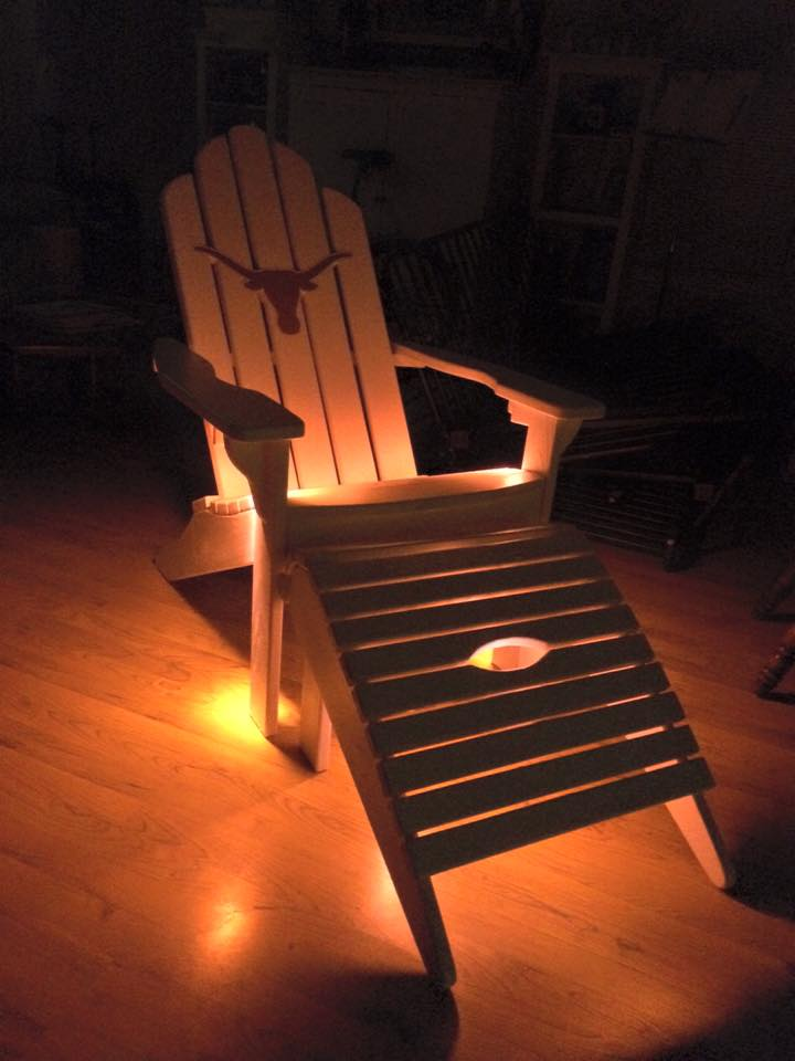 From Michael Parsons‎: Here's a chair that I made for friend of mine go Longhorns