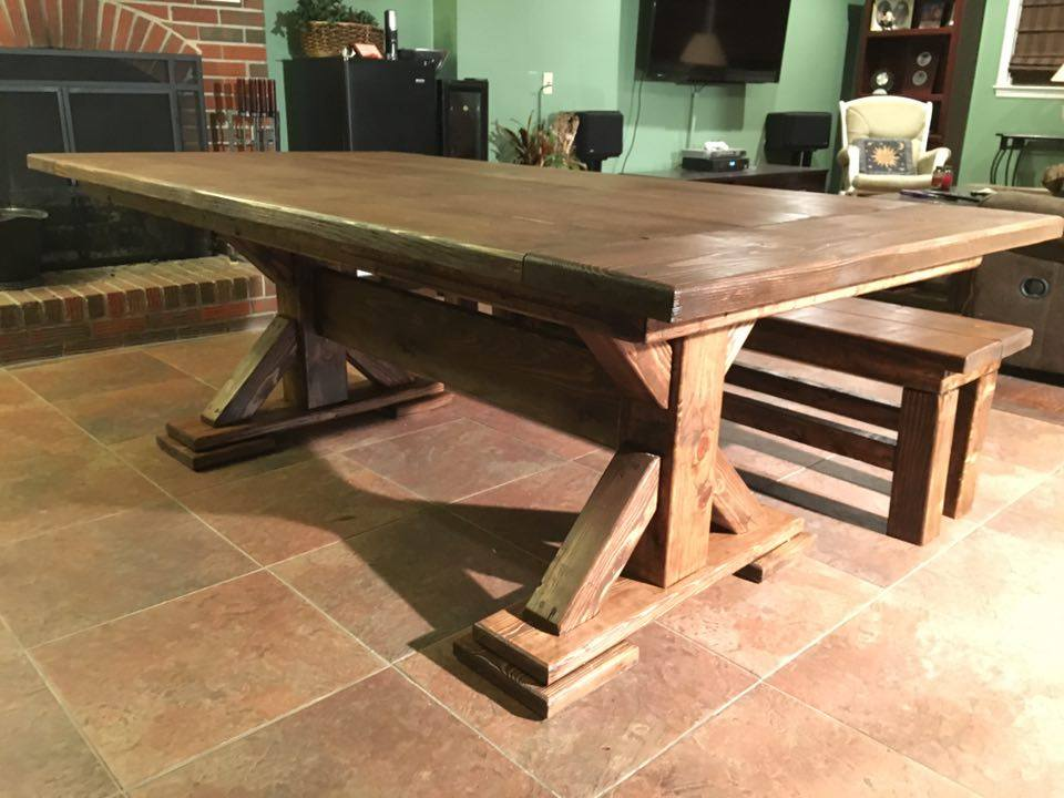 From Nate Mitchell: Old farmhouse table.  Made from standard 2x8s, 4x4x and one 6z6 regular pine. Made for a friend.