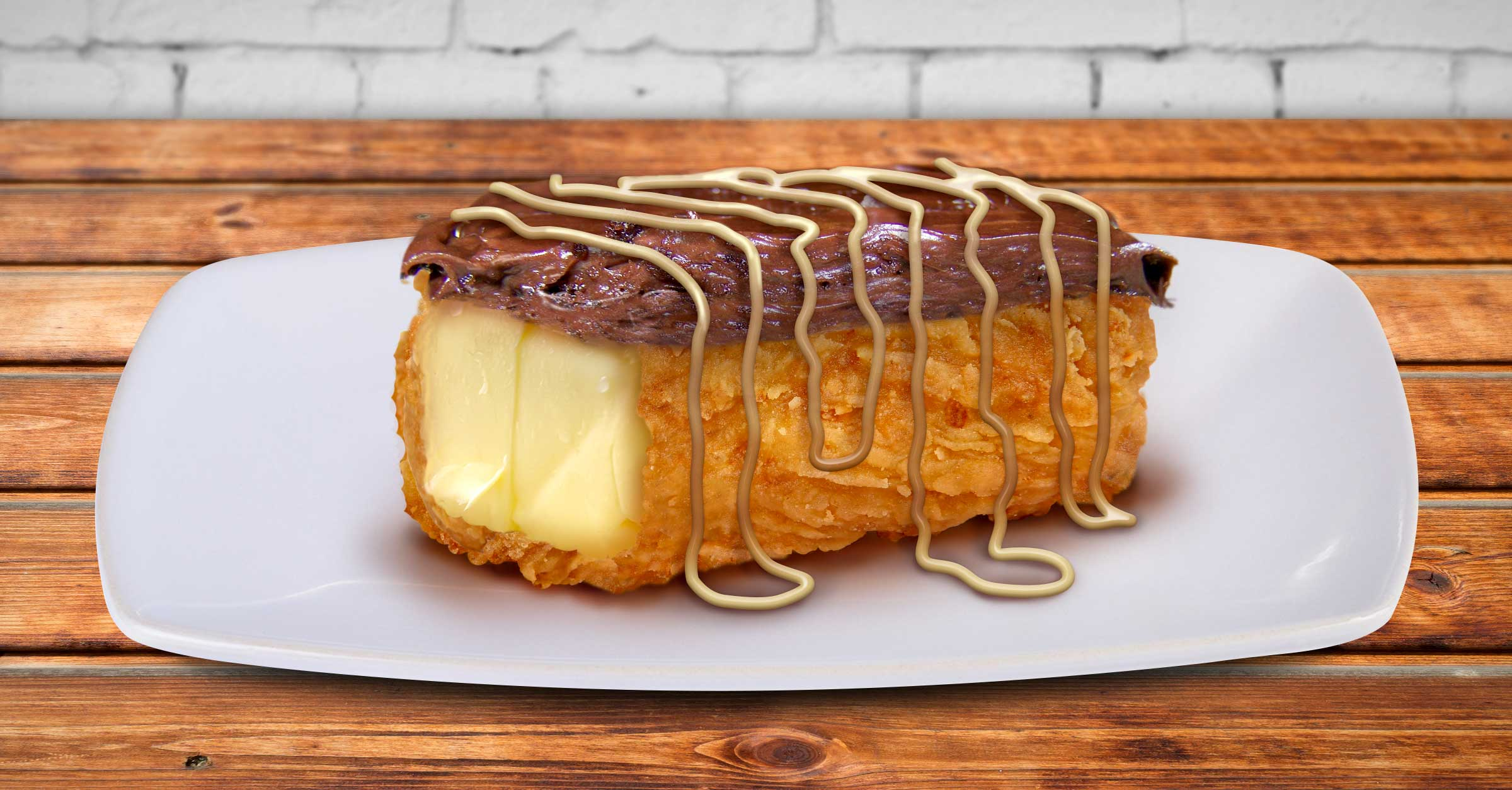Breaded, Deep Fried, Chocolate Covered Butter Stick with Sweet Lard Drizzle