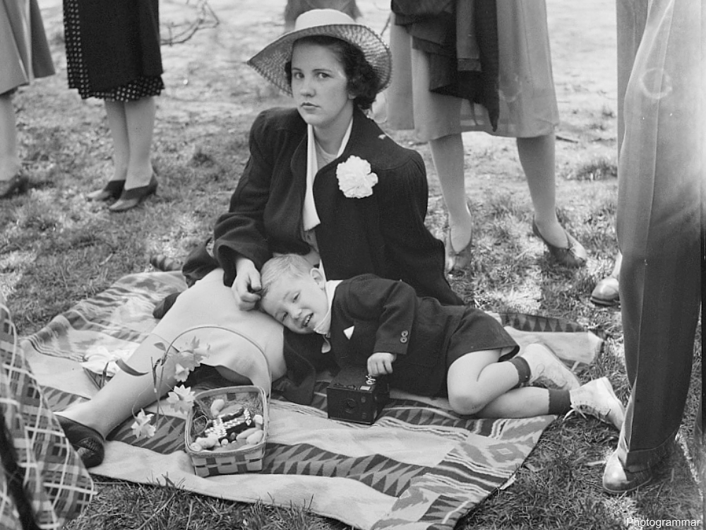 1941 Mother in Easter Hat with Her Son