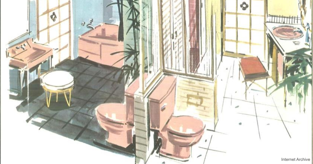 Pink Bathroom His and Her Fixtures in Catalog