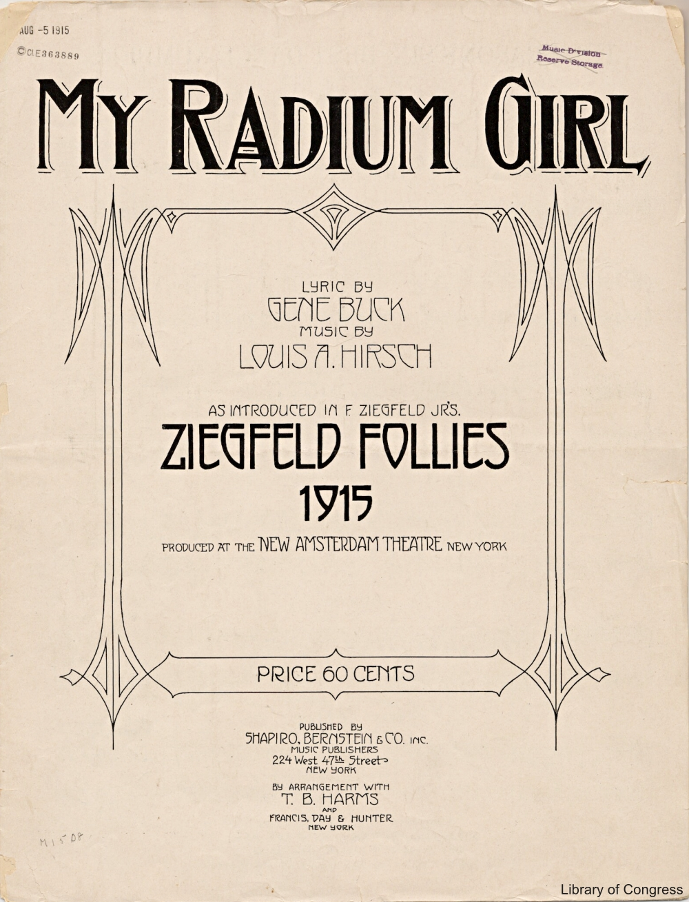 Ziegfield Follies Radium Girl Sheet Music 1915