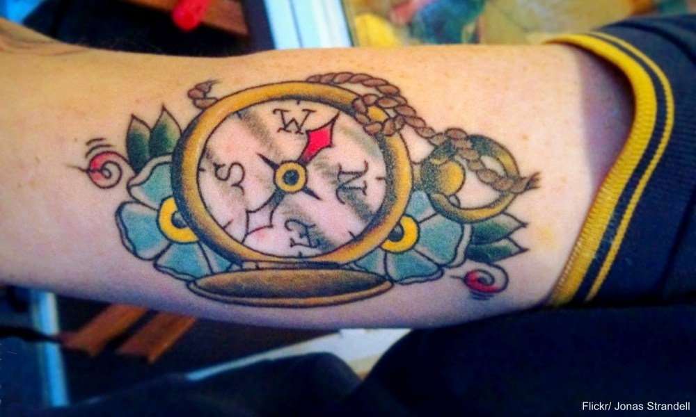Sailor Jerry Style Compass Tattoo