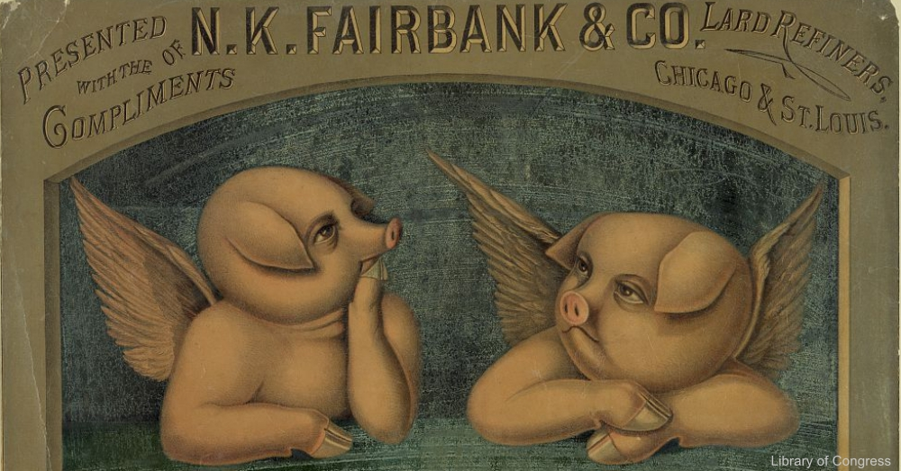 Cherubs Pig Vintage Food Advertisement
