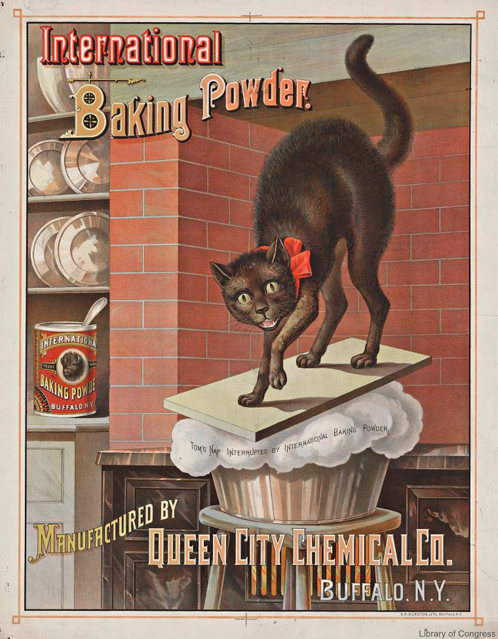 International Baking Powder Advertisement with Cat