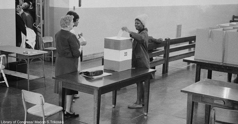 1964 Vote Being Cast into Ballot Box