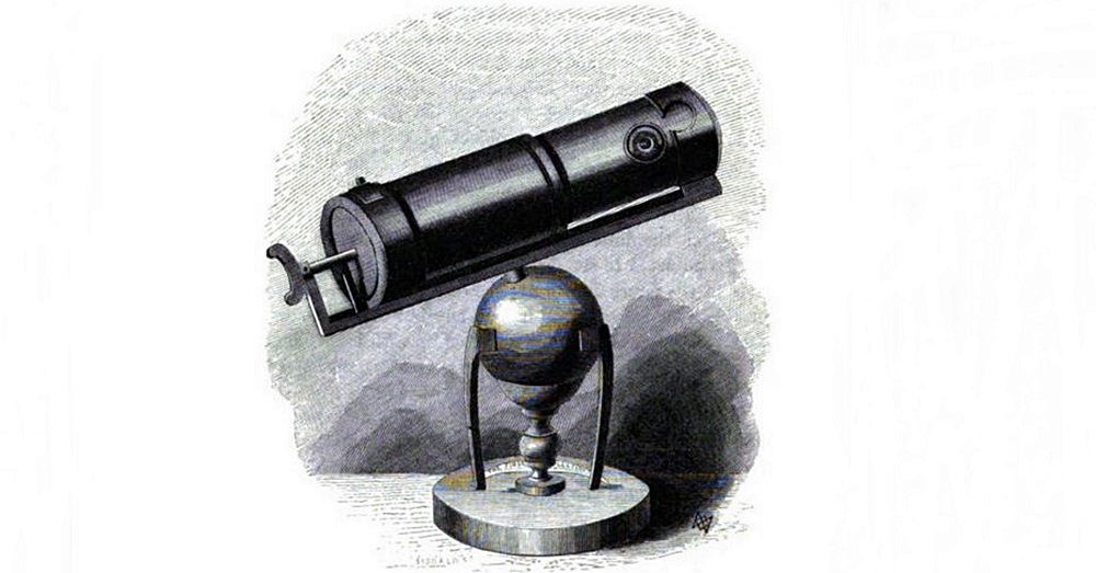 Drawing of Newton`s first telescope. Credit: David Brewster via Google Books