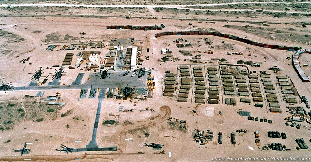 A Marine base showing conditions in Somalia, photo circa 1993