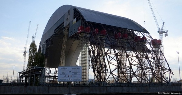 The 32,000-ton stainless steel arch will be moved into place over the Chernobyl reactor site in 2017.