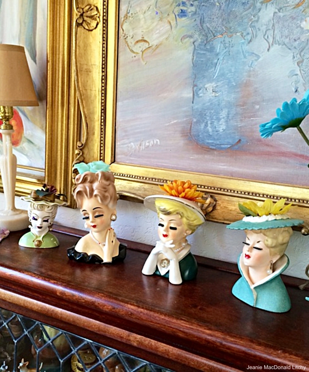 Collection of Lady Head Vases