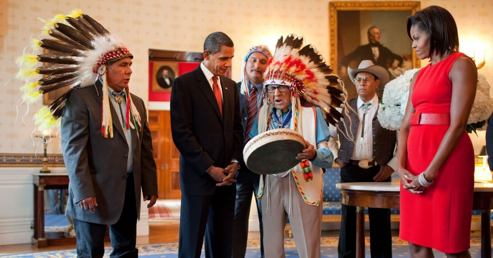Joseph Medicine Crow receiving the Presidential Medal of Freedom in 2009 / Via The White House