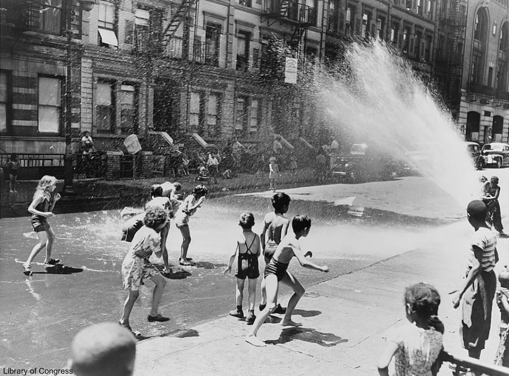 Kids Playing in Fire Hydrant
