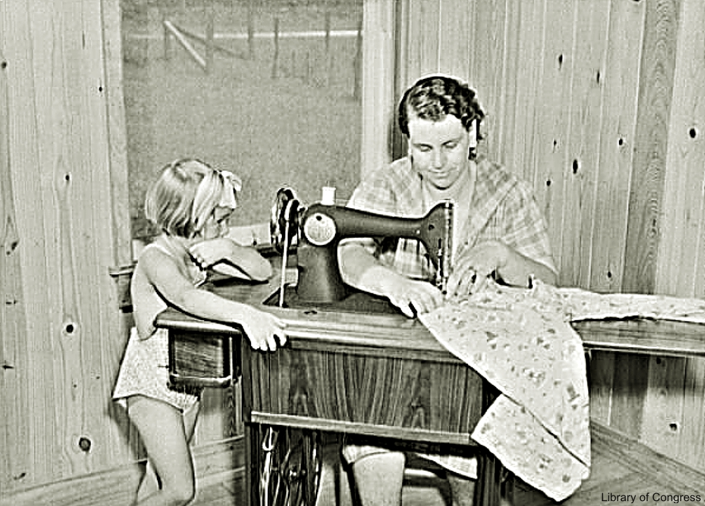 Mother at Sewing Machine