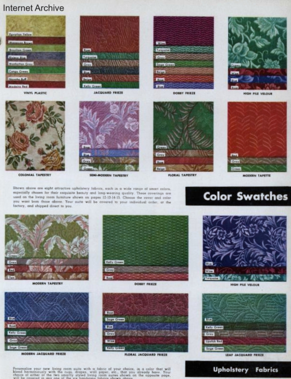 1949 Upholstery Fabric Swatches