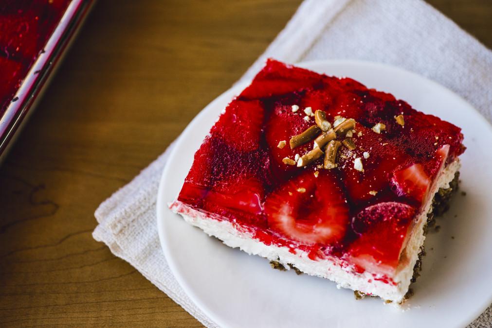 2 strawberry pretzel jello cake fulllsized
