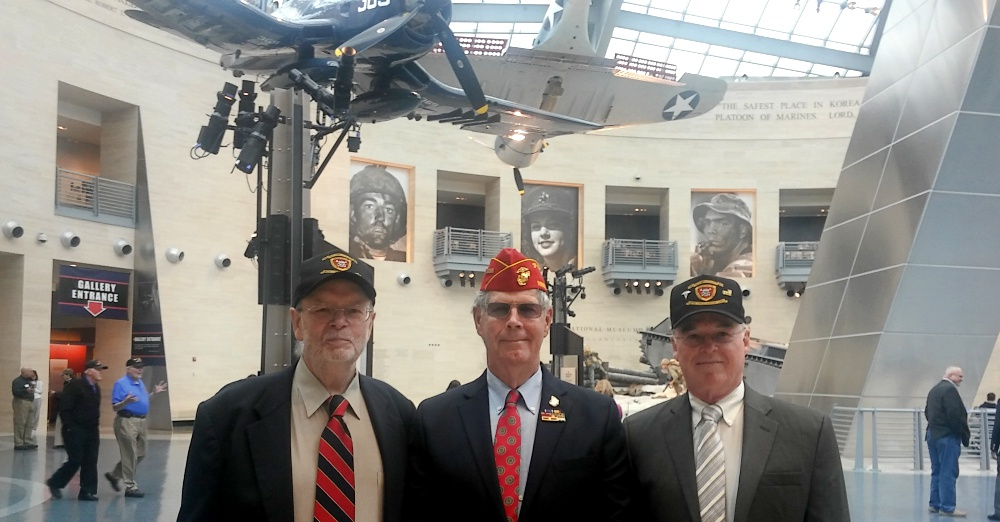From left to right: Doc Winters, Sgt. Leland Upshaw, and Doc DAN Doyle at the ceremony