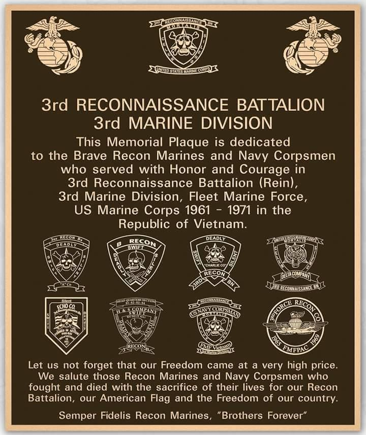 The plaque dedicated to the 3rd Reconnaissance Battalion (Rein), 3rd Marine Division.