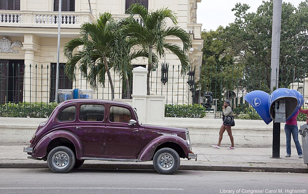 Classic Car in Cuba by Public Telephones