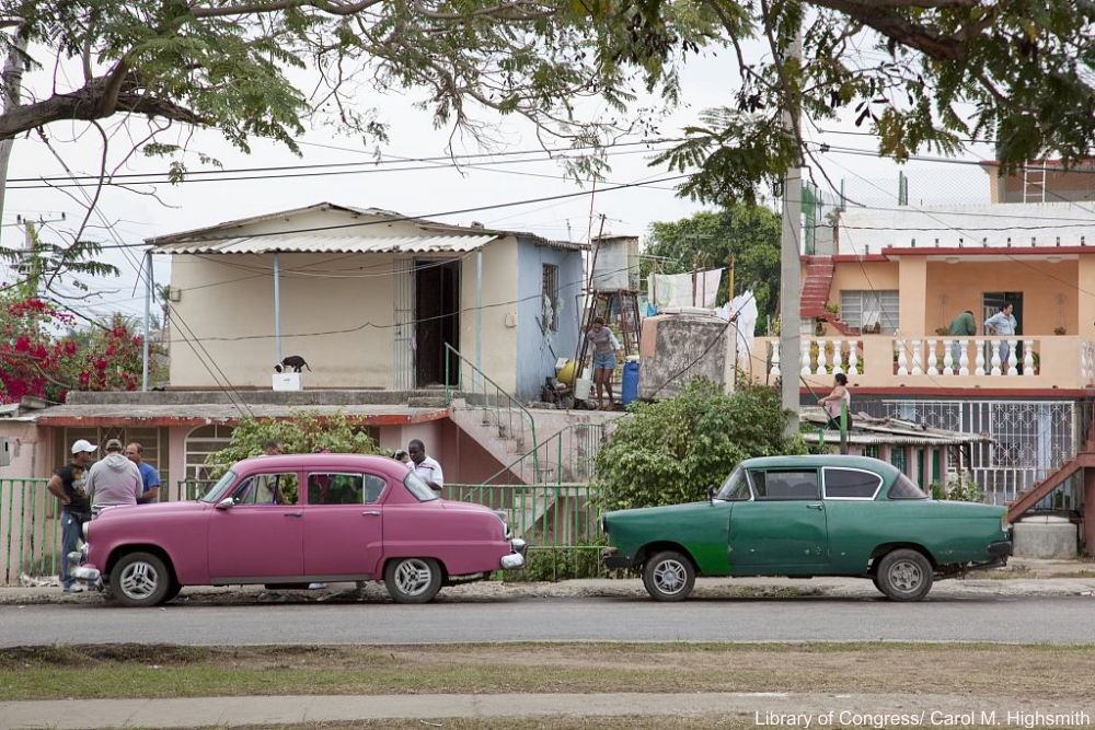 Pink and Green Classic Cars in Cuba