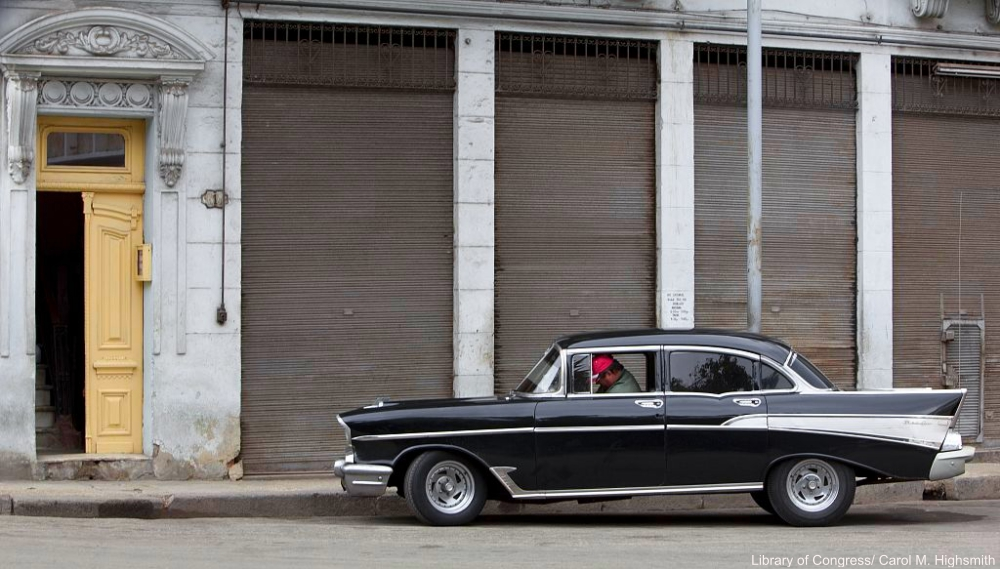Black and Chrome Vintage Car in Cuba