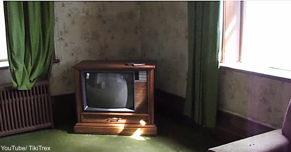 Console TV in Abandoned House