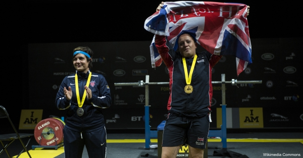 Army Cpl. Carolyne Dufley won the gold medal  and U.S. Air Force Staff Sgt Melissa Coduti won the silver medal in powerlifting during the inaugural Invictus Games in London in 2014.