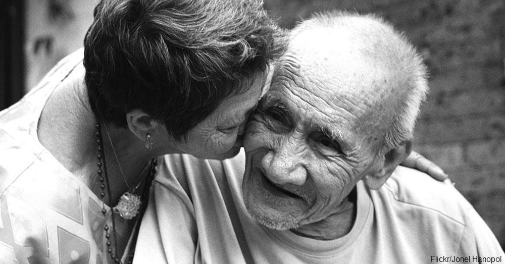 Girl Kissing Elderly Man