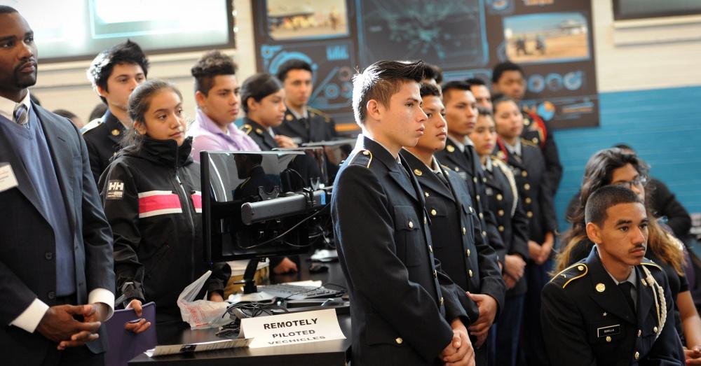 ROTC Cadets at Francis L. Cardozo Education Campus in Washington, D.C. / Via DoD News