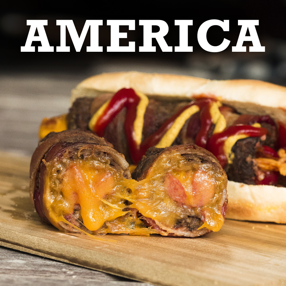 Molten Cheese-Cored Bacon Burger Dogs AMERICA 2