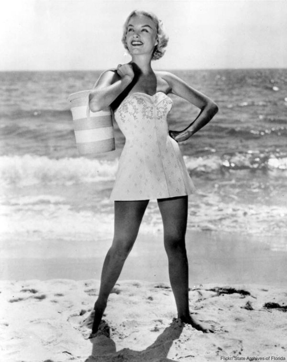 Tanned Model on Beach 1950s