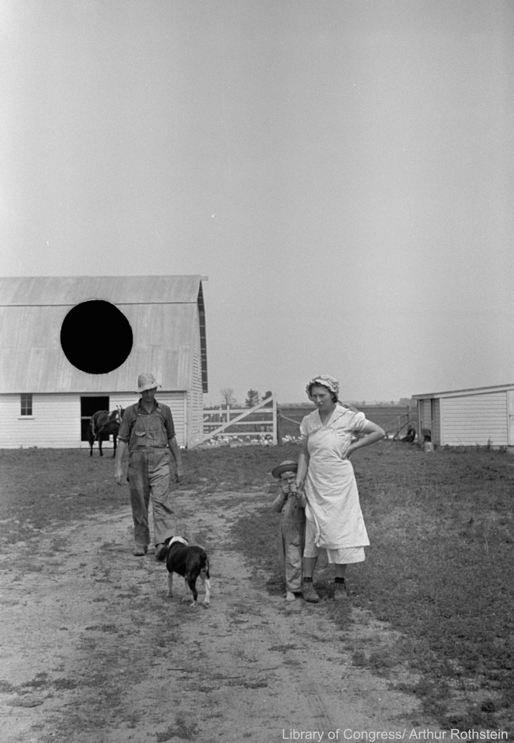 Farmer with His Family and Dog, Rejected FSA Photo