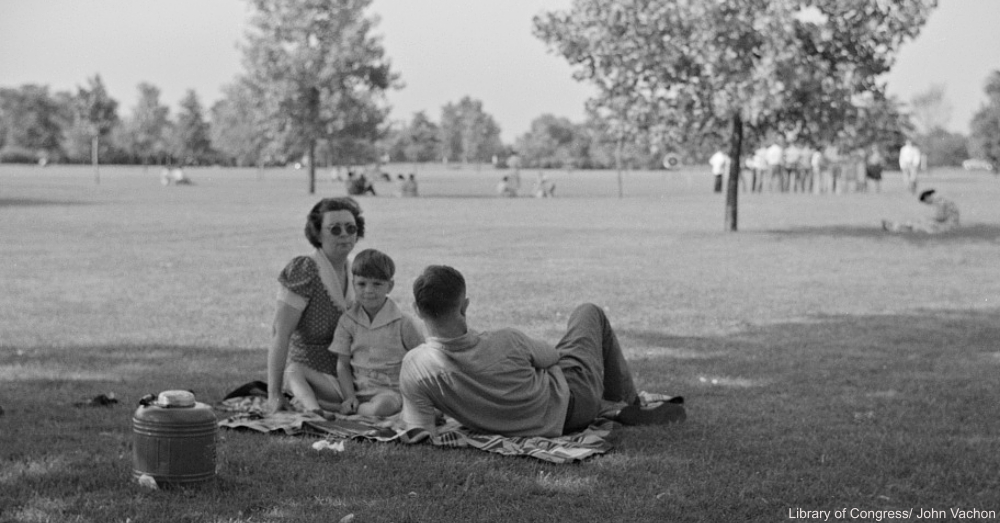 Family on Picnic in 1940s