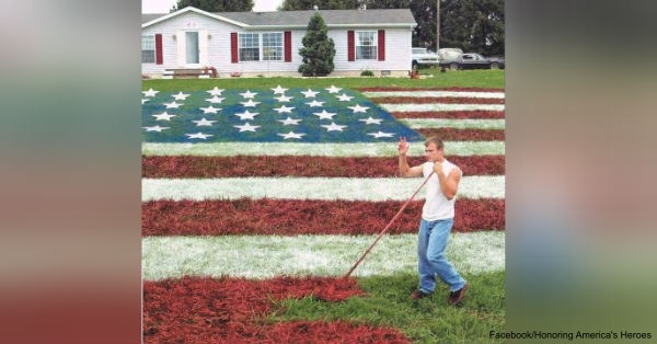 Lori Davis, contracted John Morris to paint her lawn to honor the return of her son, Lance Corporal Chad Davis.