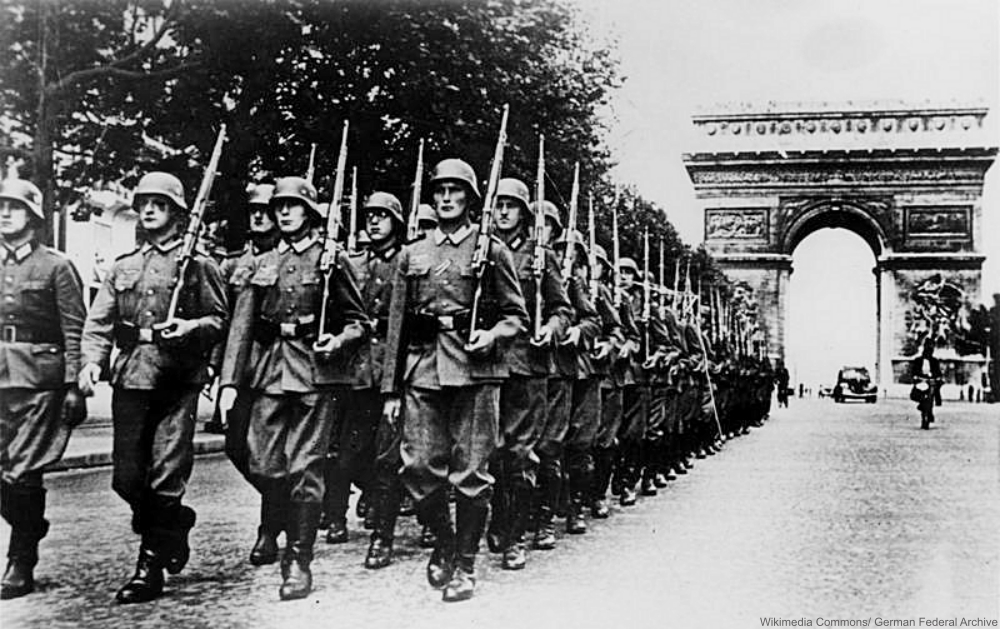 German Troops Marching Along the Champs Elysee Near the Arc de Triomphe