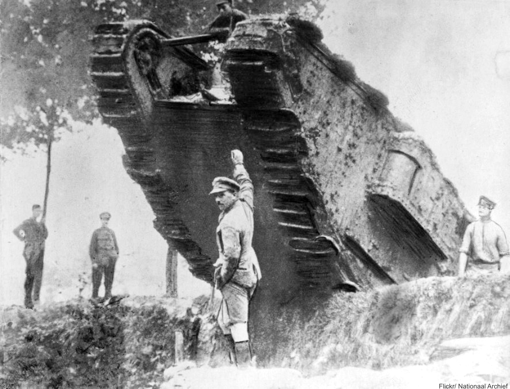 1917 English tank crossing a trench.