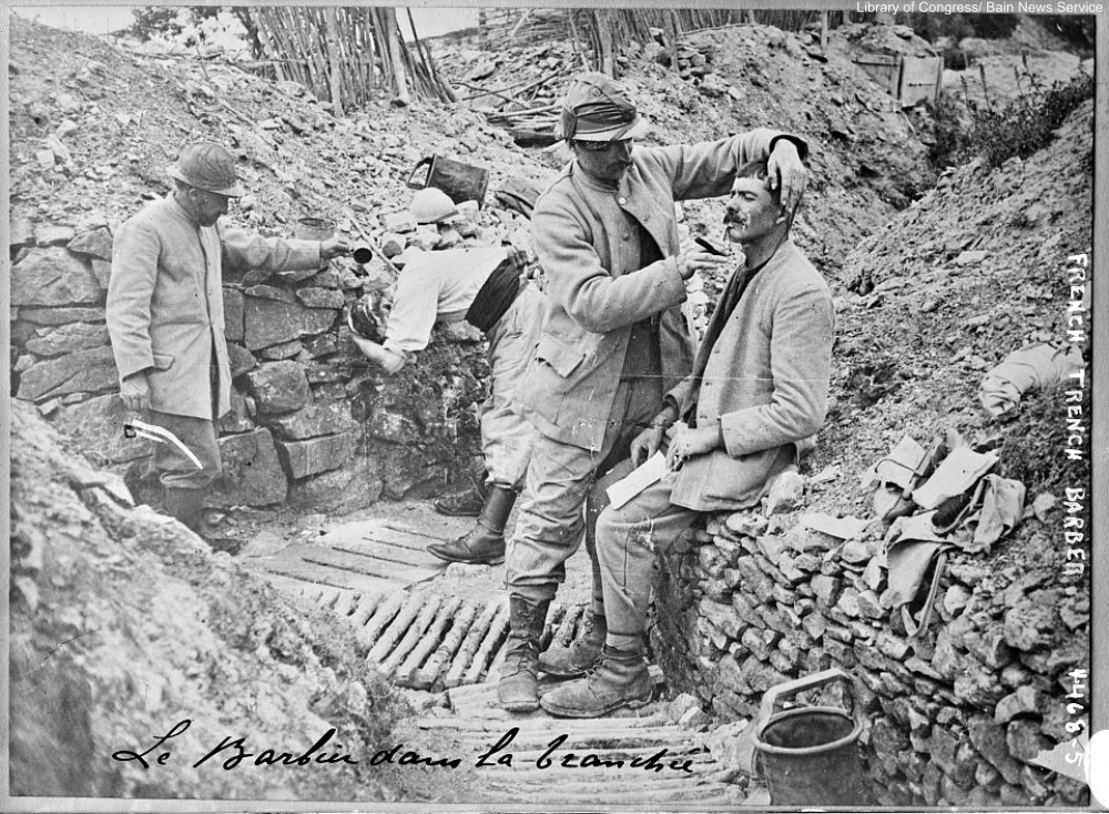 French barber in the trenches WWI