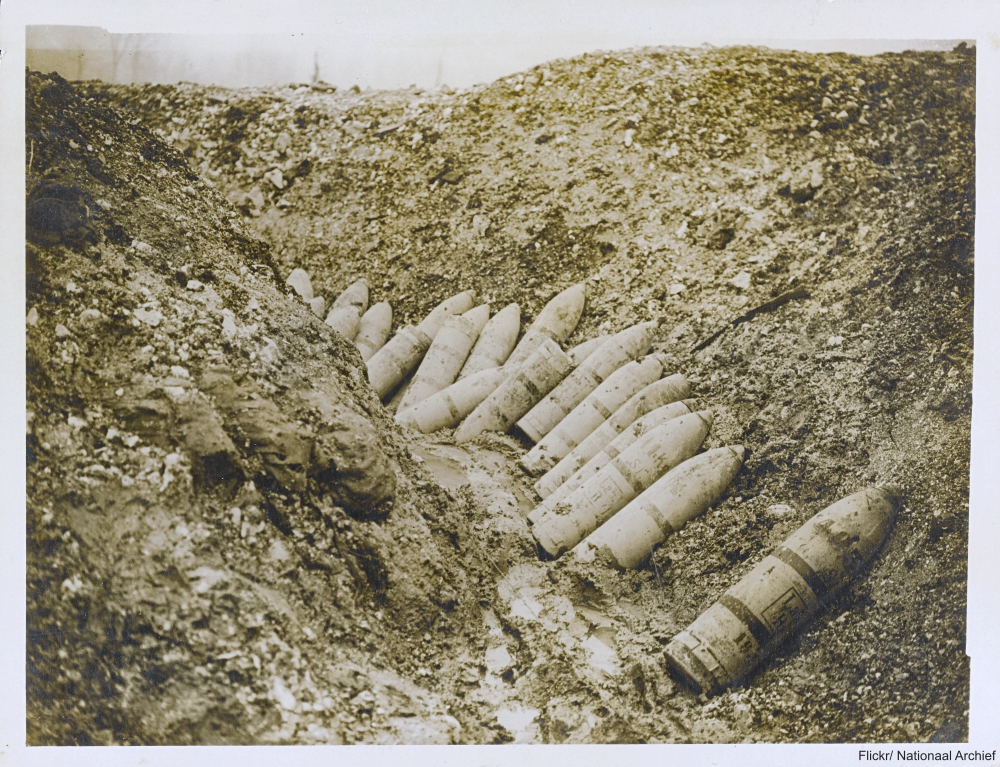 Unexploded German ammunition left in a trench in France