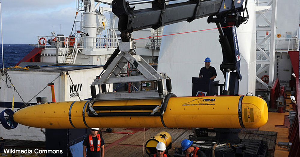 An unmanned naval glider is prepared for operation in the Southern Indian Ocean, where several such gliders were used to search for the missing Malaysia Airlines Flight 370.