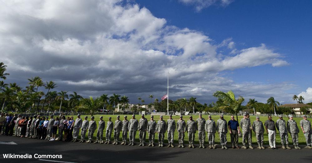 Hundreds of U.S. Service members and civilians gather at Atterbury circle at Joint Base Pearl Harbor-Hickam, Hawaii, Jan. 11, 2012.