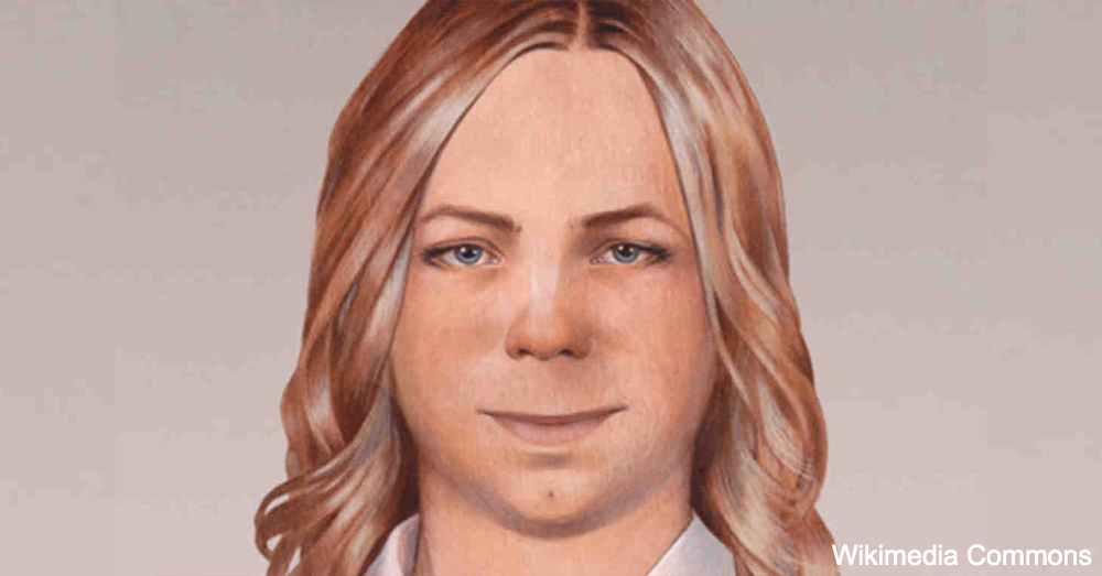 A rendering of Chelsea Manning with long hair.