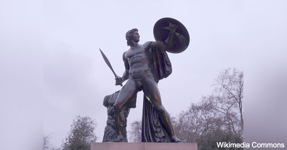 A statue of Achilles in Hyde Park, in London.