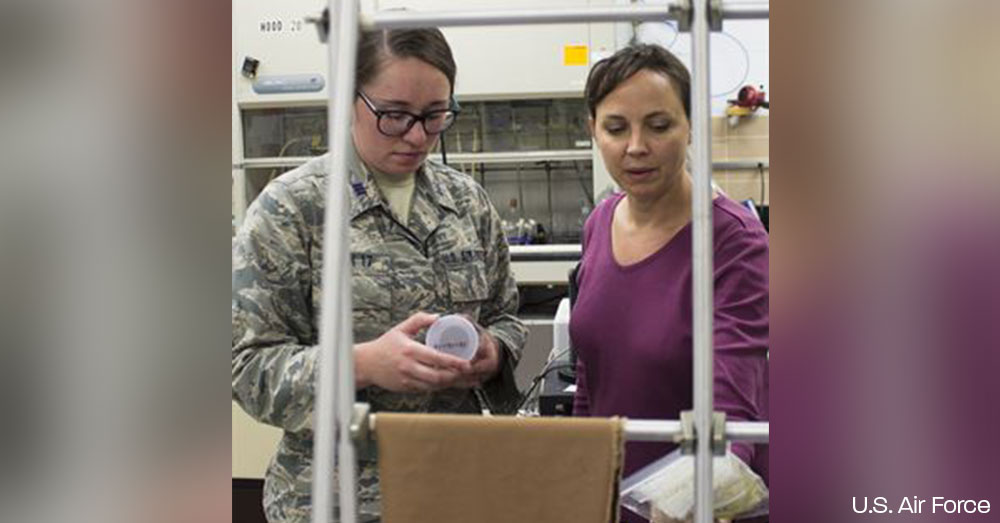 From left, U.S. Air Force Academy Cadet First Class Hayley Weir and AFCEC research chemist