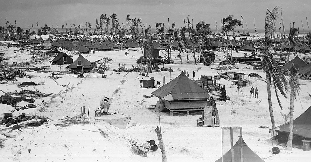 Source: Wikimedia Commons U.S. Base tents on Betio Tarawa