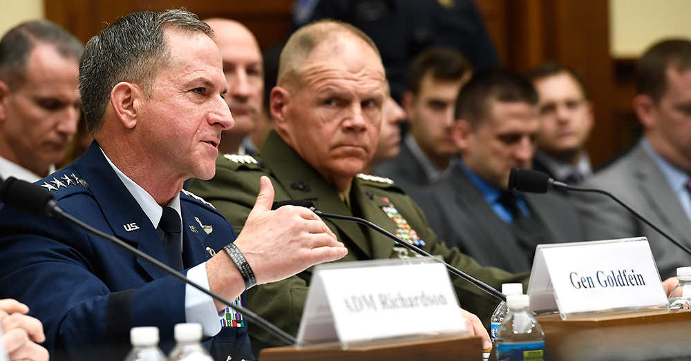 Photo: US Air Force -- Chief of Staff Gen. David Goldfein testifies before the House Armed Services Committee.