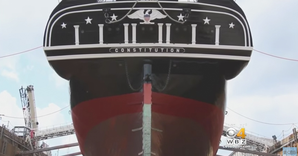 Photo: YouTube/CBS Boston -- The USS Constitution was named by President George Washington.