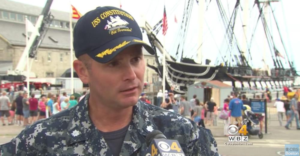 Photo: YouTube/CBS Boston -- 74th Commander Robert Gerosa called the ship